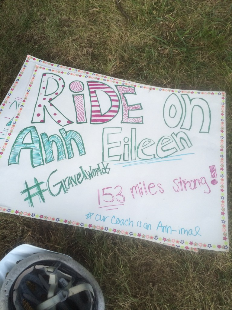 Ann's a cross-country coach. Her runners made signs. How awesome.