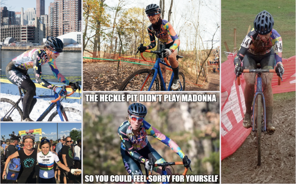 Collage of 5 images of a woman racing cyclocross